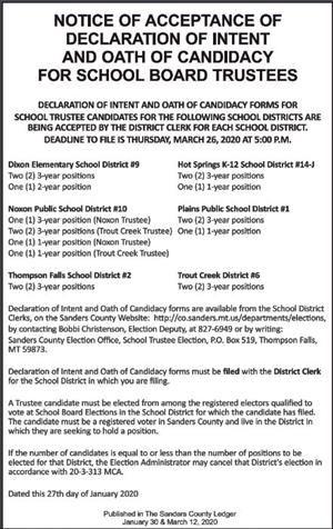 Notice of Acceptance of Declaration of Intent for School Board Trustees